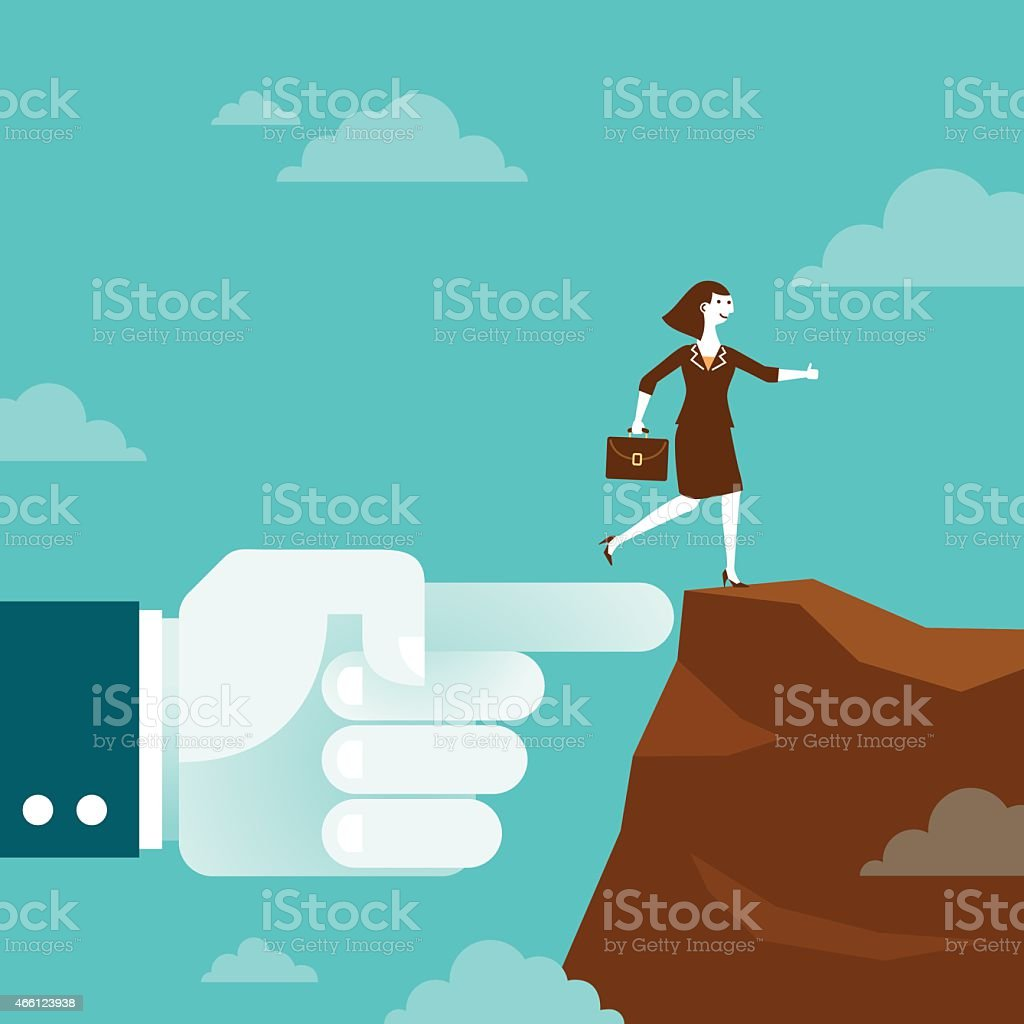 Huge Hand Shows Direction to Businesswoman | New Business Concept vector art illustration