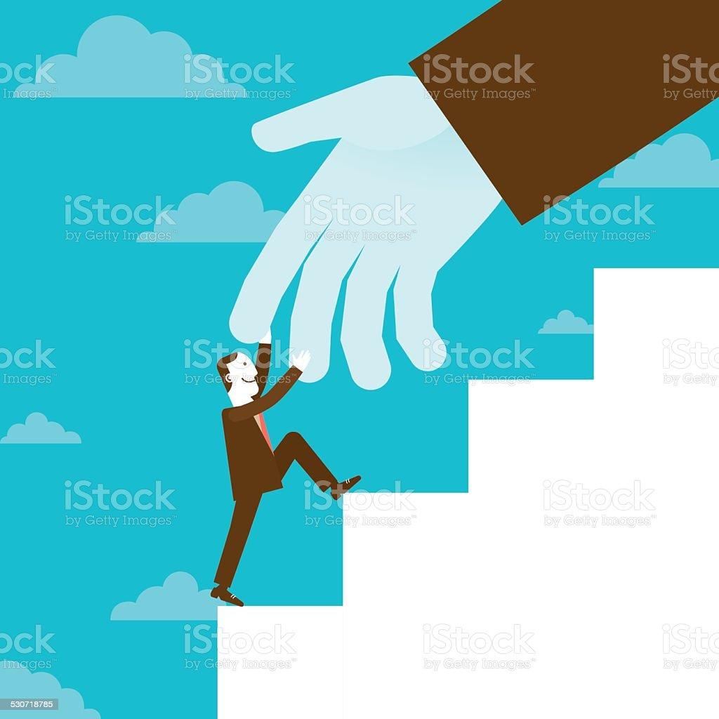 Huge Helping Hand | New Business Concept vector art illustration