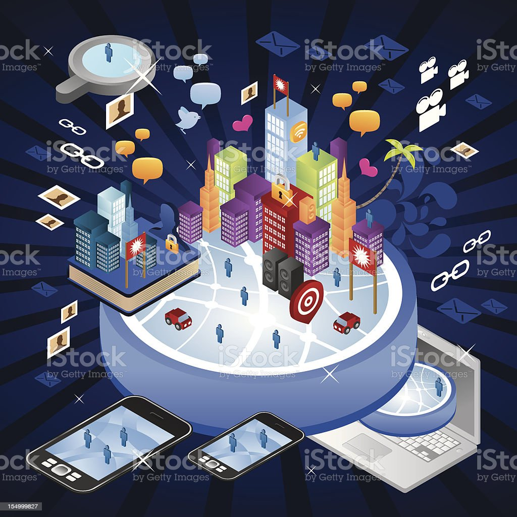 Huge internet world city vector art illustration