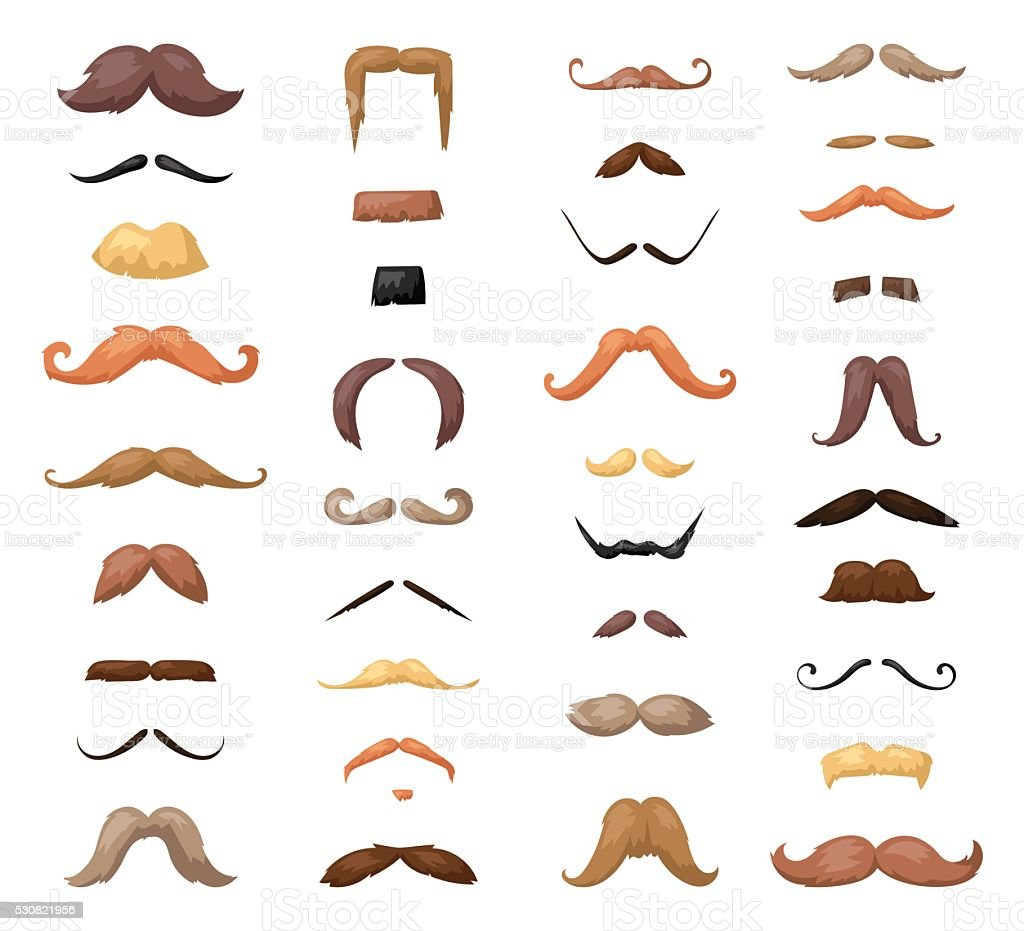 Huge set of vector mustache vector art illustration
