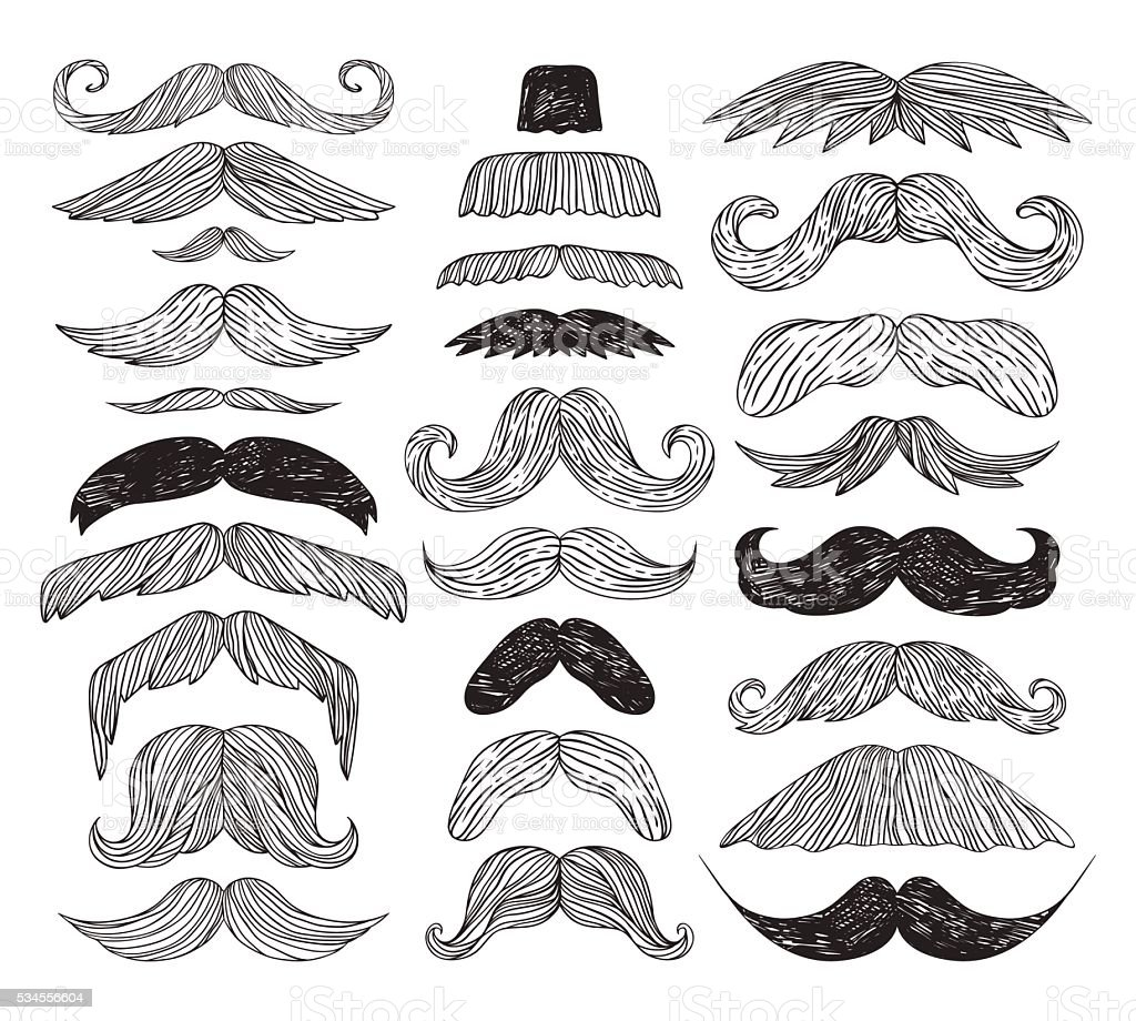 Huge set of vector mustache. vector art illustration