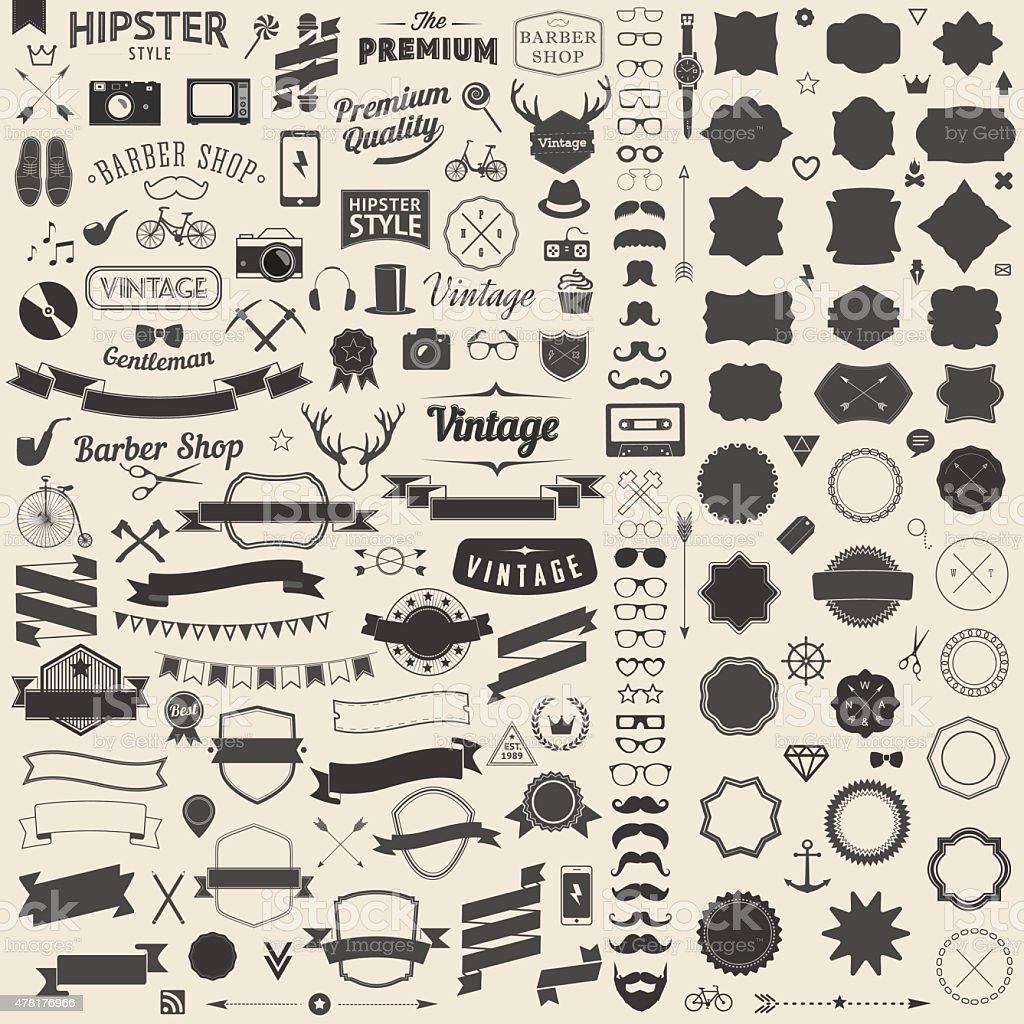 Huge set of vintage styled design  hipster icons vector art illustration