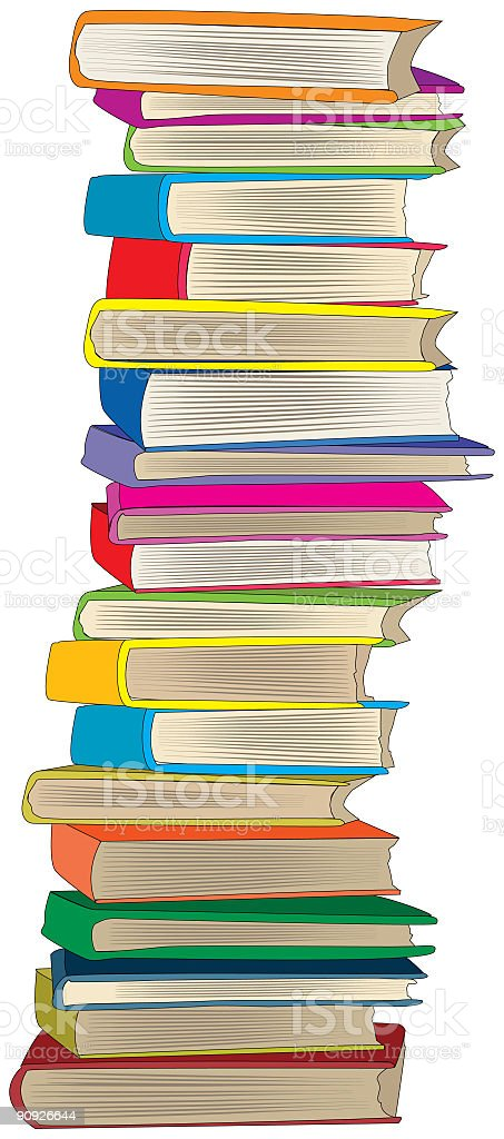 Huge Stack of Nineteen Multi-colored Books piled High royalty-free stock vector art