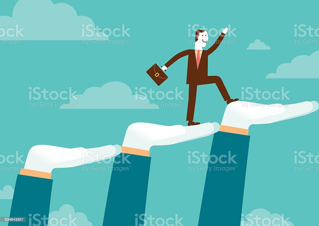 Huge Supporting Hands For Businessman | New Business Concept vector art illustration