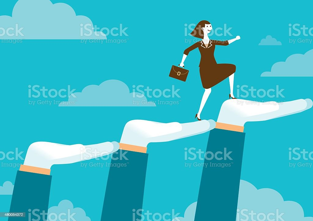 Huge Supporting Hands For Businesswoman | New Business Concept vector art illustration