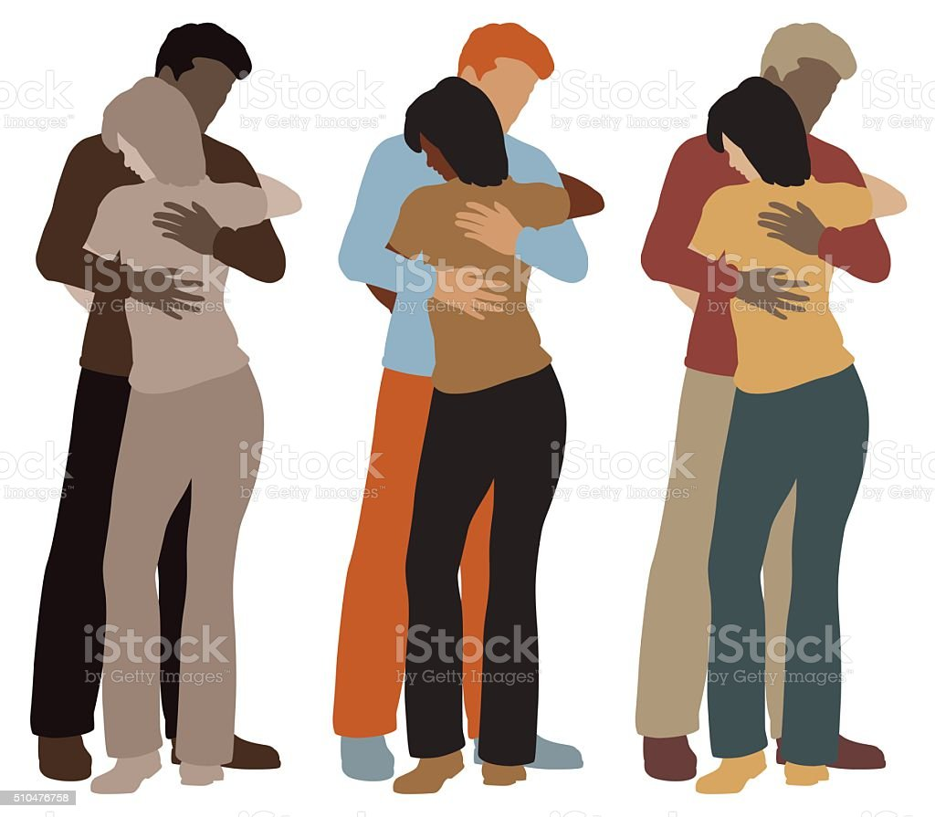Hugging couple vector art illustration