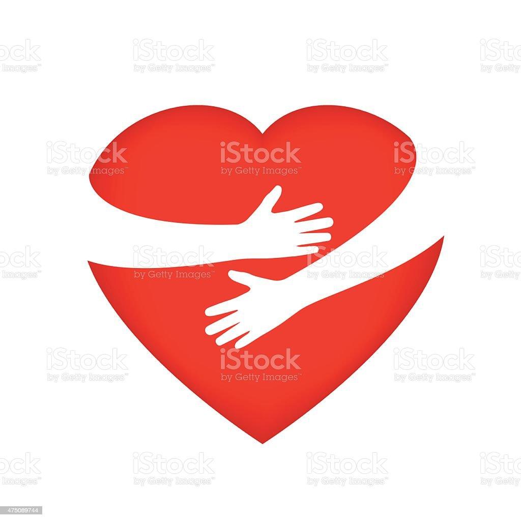 Hugging someone's heart vector art illustration