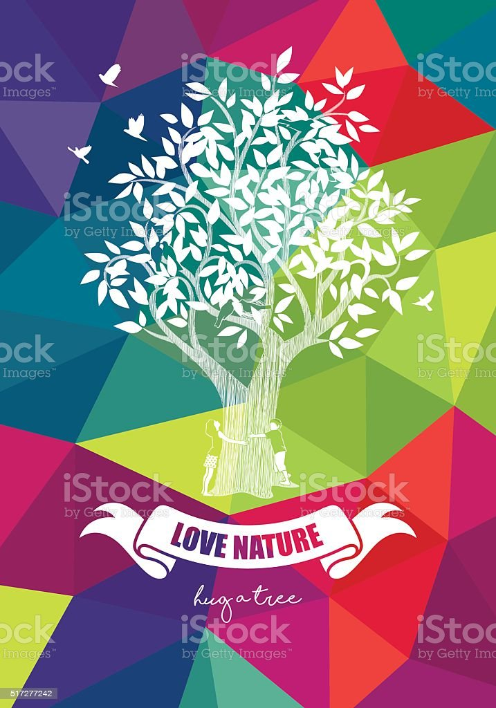 Hugging Tree Colourful Low Poly Background vector art illustration