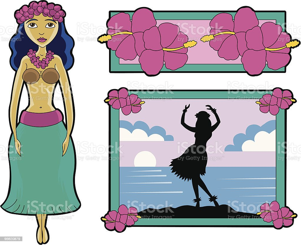 Hula Girl royalty-free stock vector art
