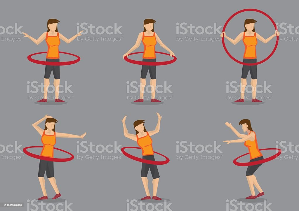 Hula Hoop Fitness Workout Vector Character Illustration vector art illustration