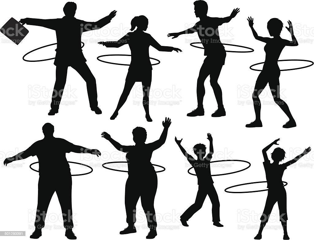 Hula hoop people vector art illustration