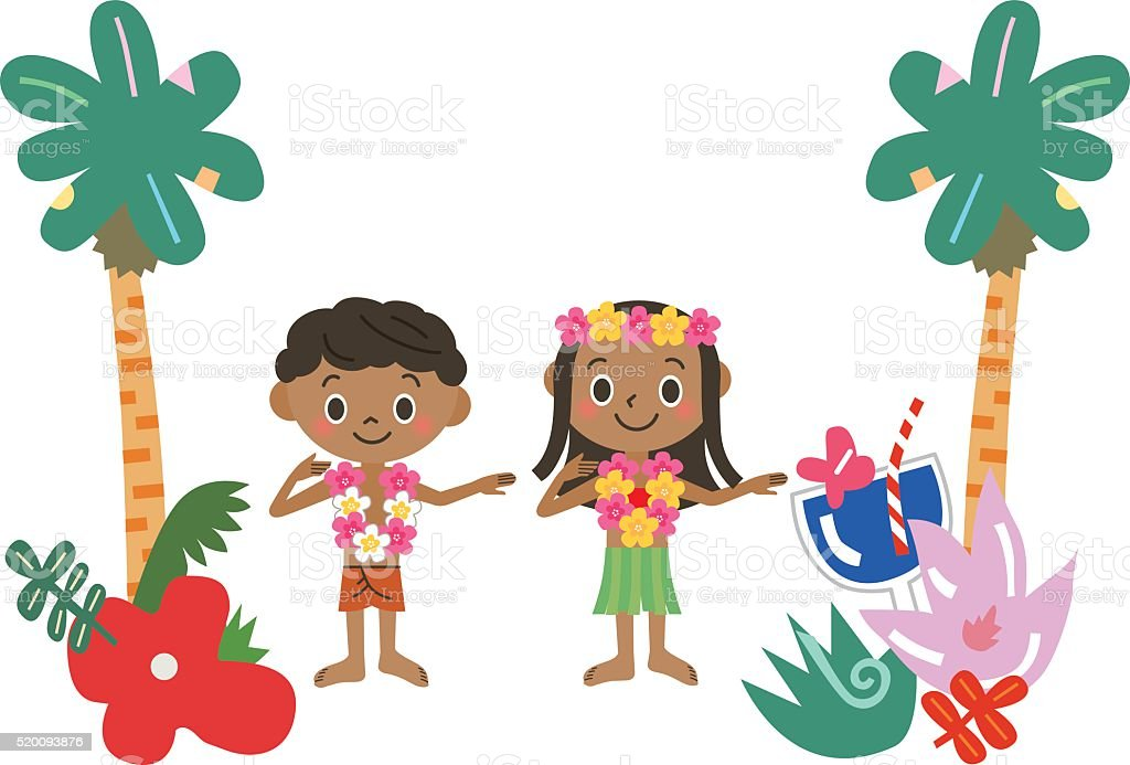 Hula of the child vector art illustration