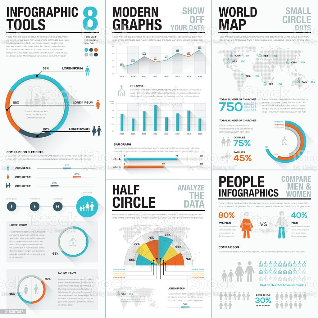 Human and people infographic vector elements blue and red color vector art illustration