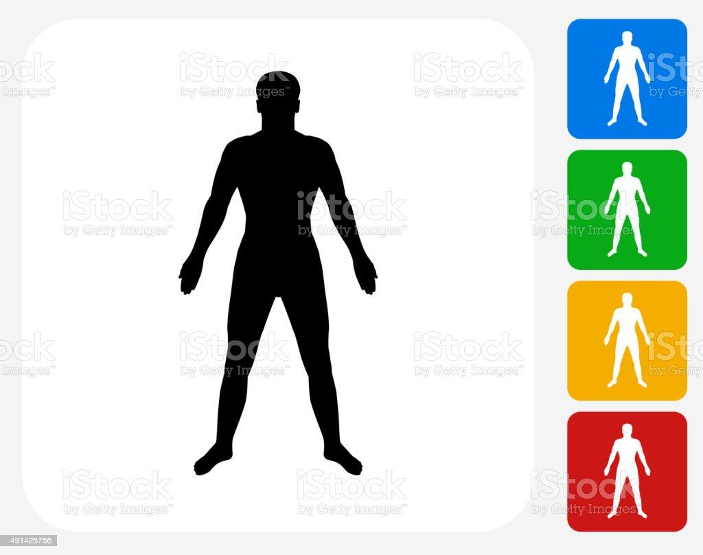 Human Body Icon Flat Graphic Design vector art illustration