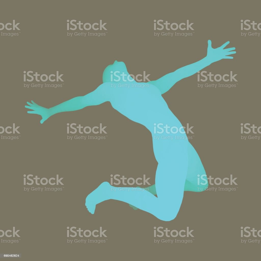 3D Human Body Model. Man kneeling. Vector Illustration. vector art illustration