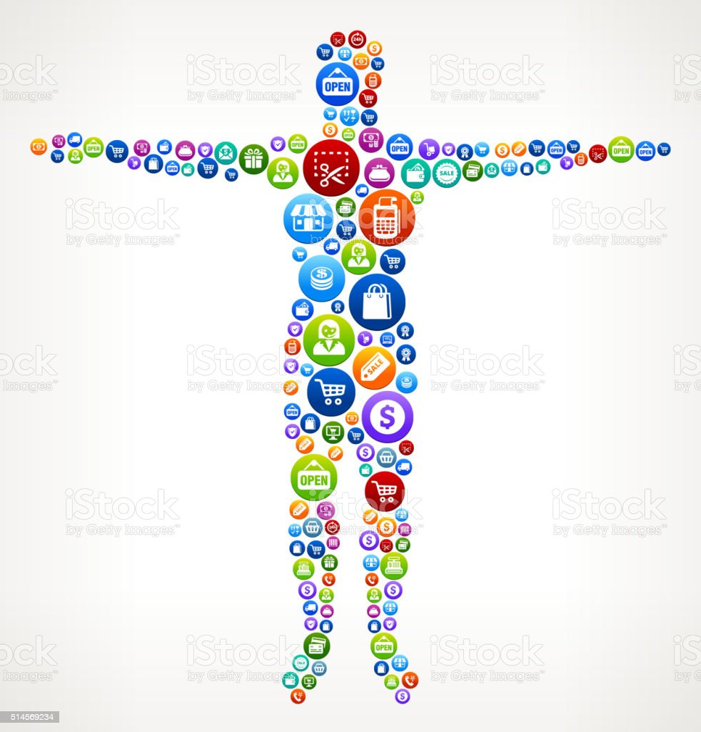 Human Body Shopping and Commerce Colorful Button Pattern vector art illustration