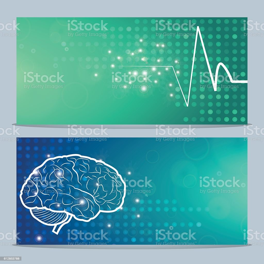 Human brain and pulse stock vecteur libres de droits libre de droits