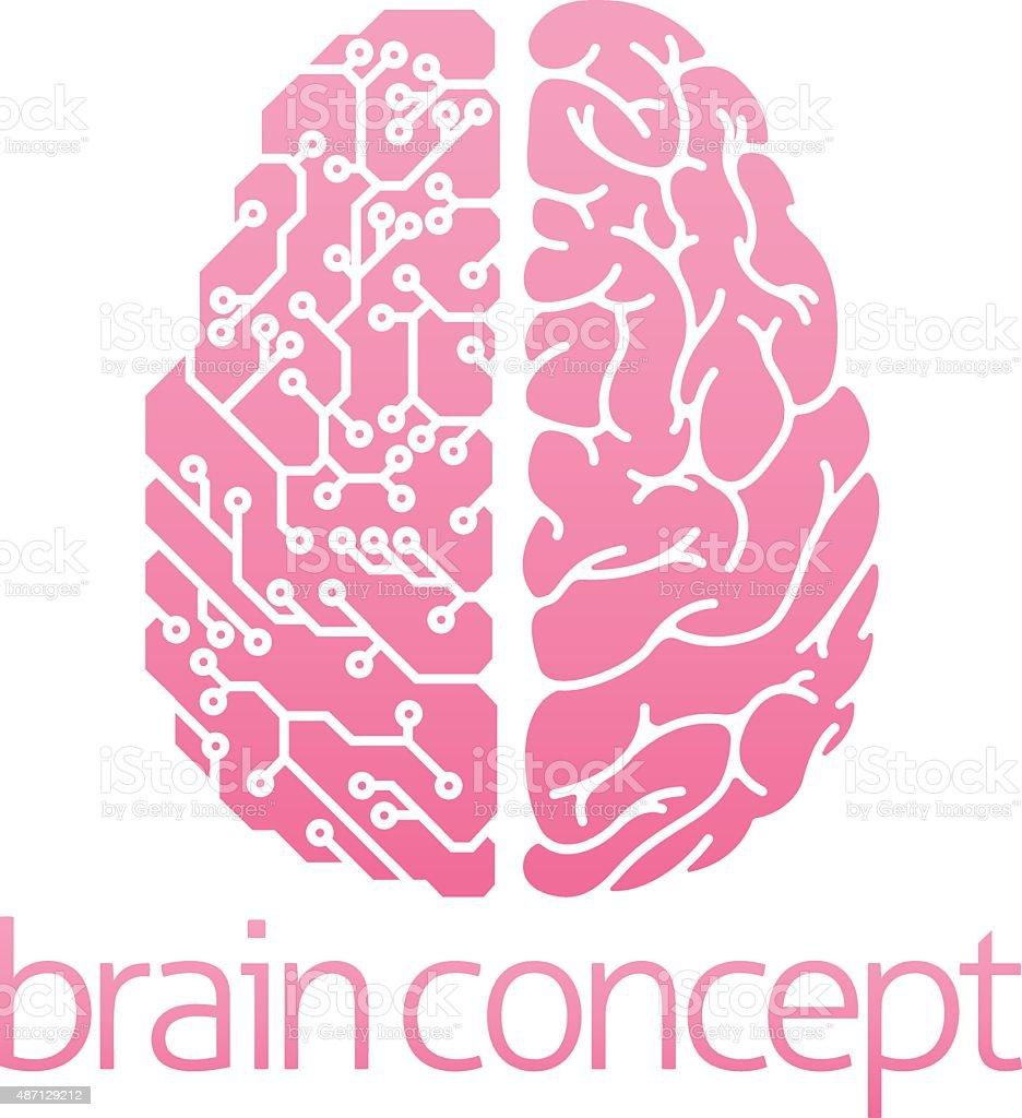 Human brain electrical circuit vector art illustration