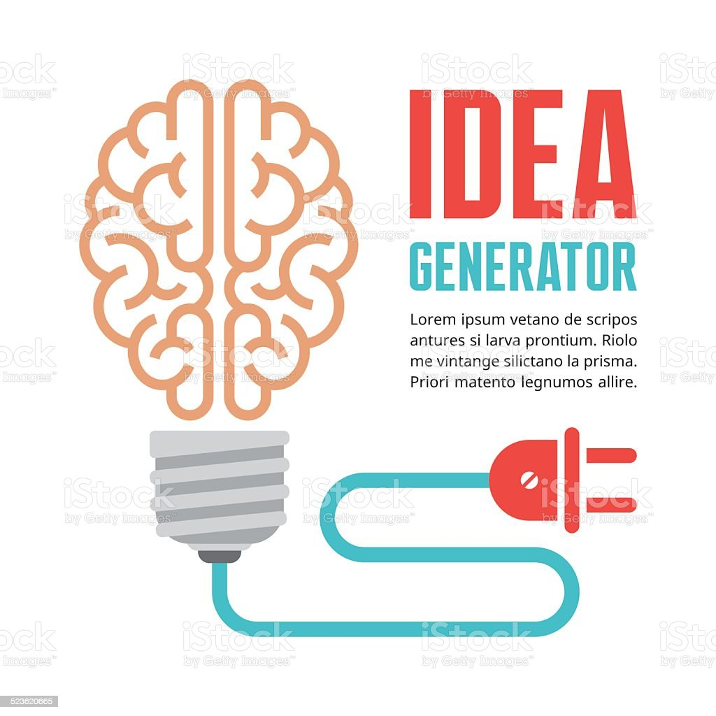 Human brain in light bulb vector illustration vector art illustration