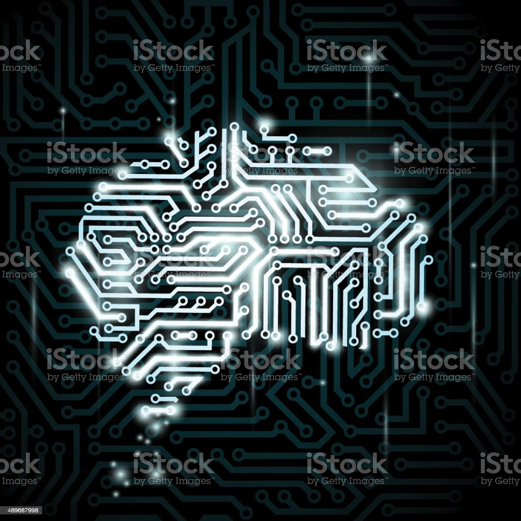 Human brain in the form of circuits. vector art illustration