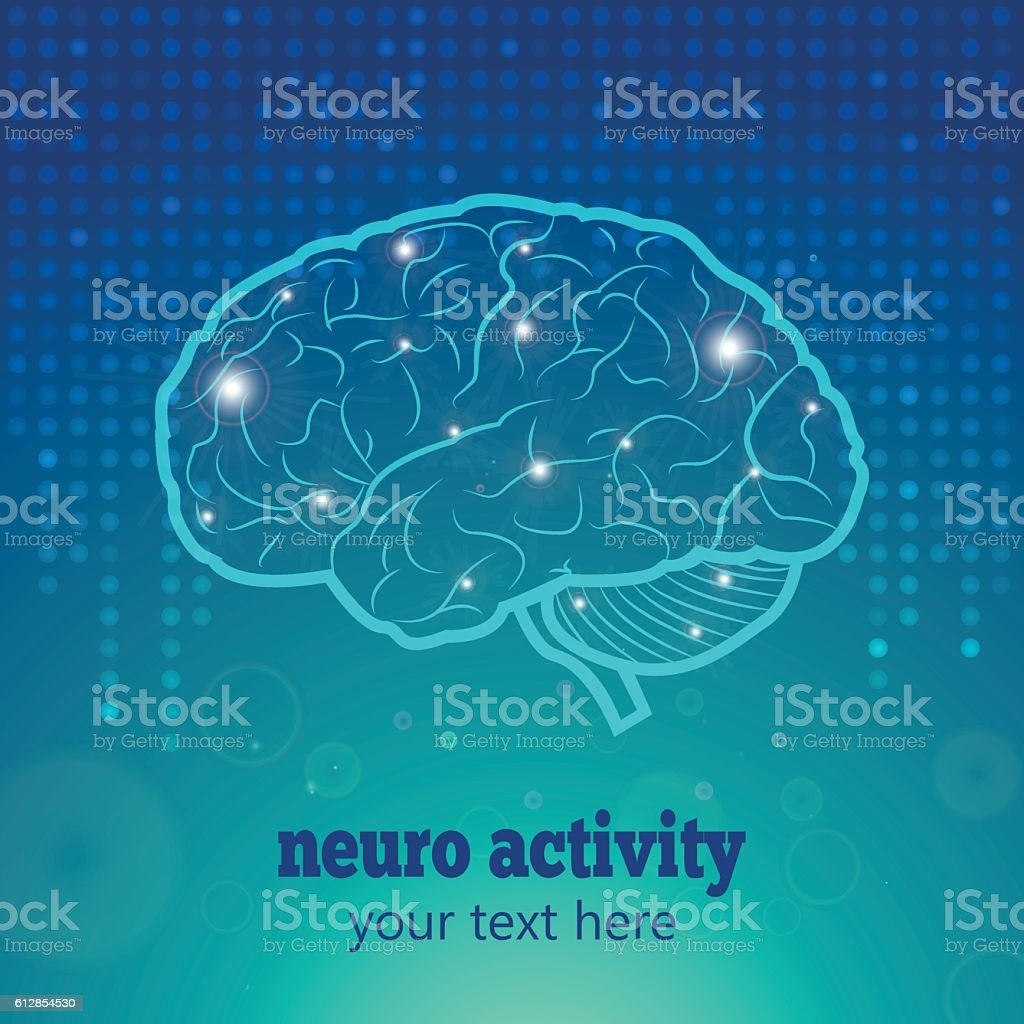 Human brain neural activity stock vecteur libres de droits libre de droits