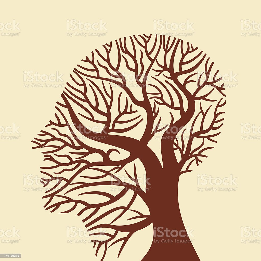 human brain, tree shape royalty-free stock vector art