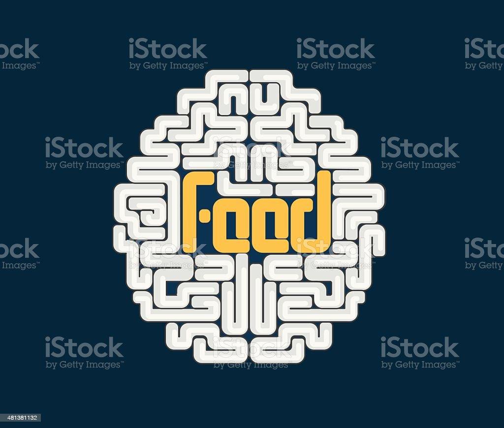Human brain with conceptual text vector art illustration