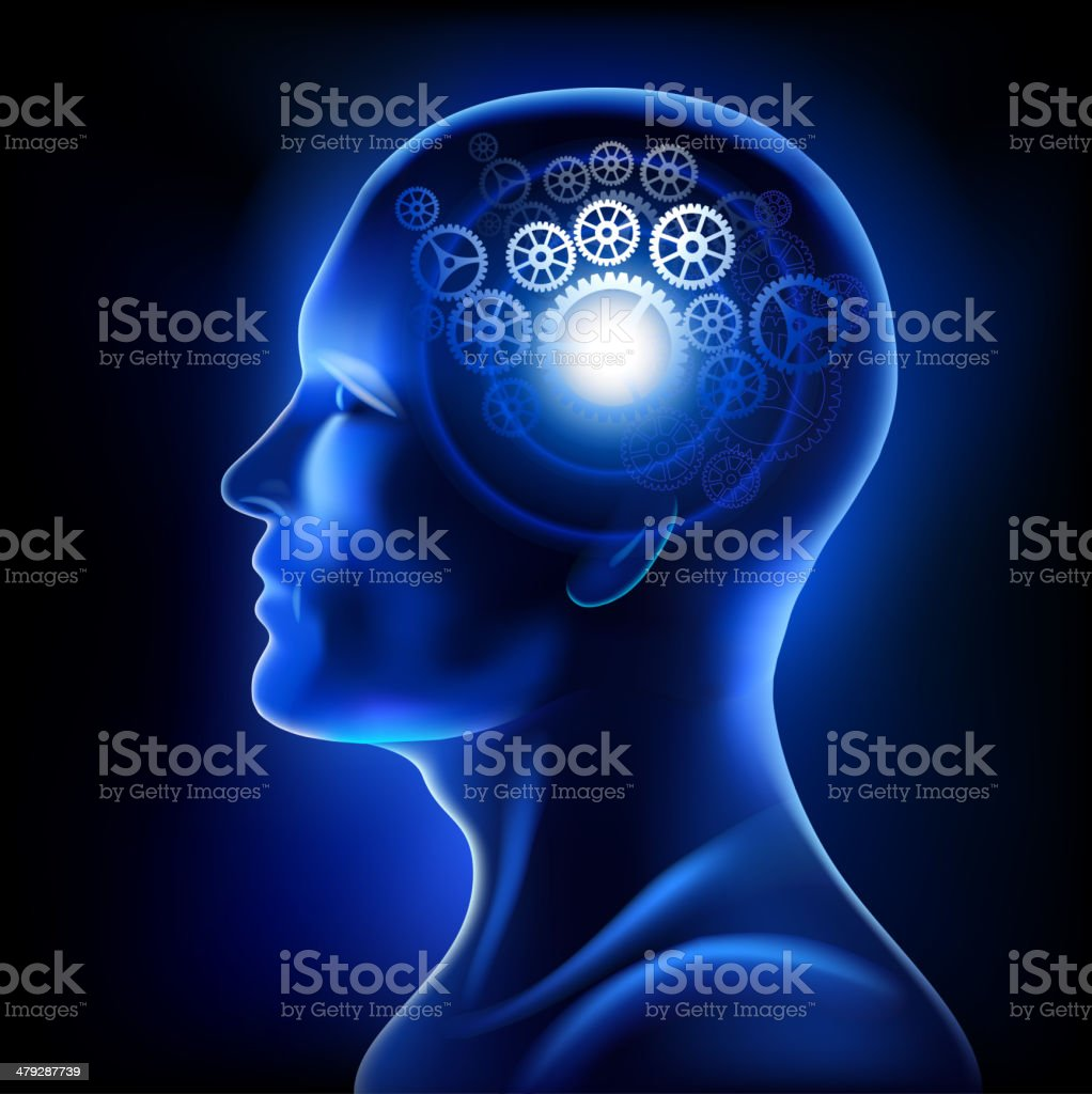 Human brain with gears royalty-free stock vector art