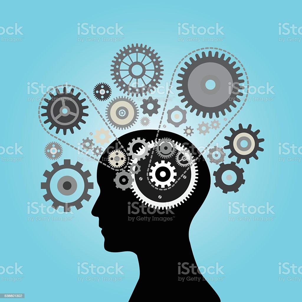 Human Brain with Gears vector art illustration