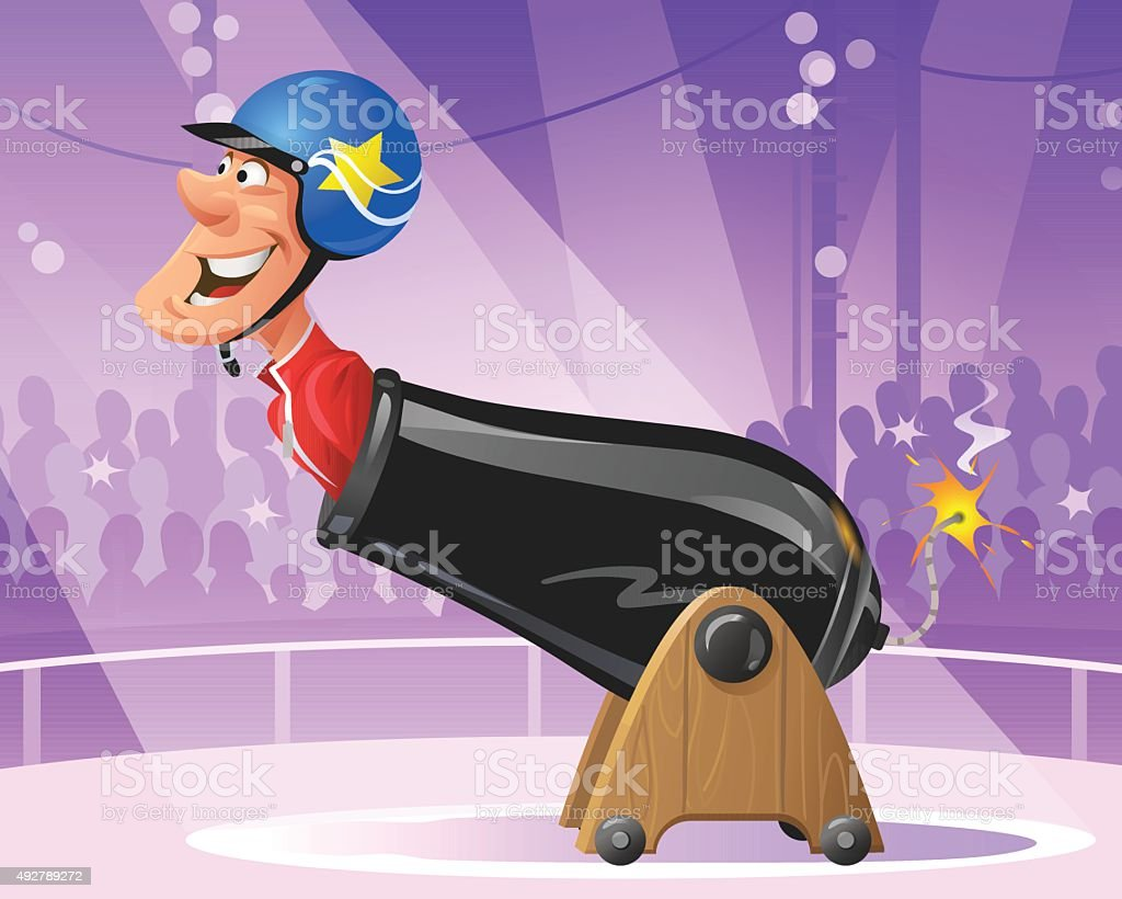 Human Cannonball In Circus vector art illustration