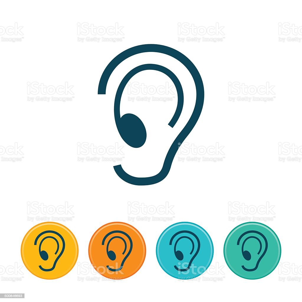 Human Ear Icon - Outlines vector art illustration