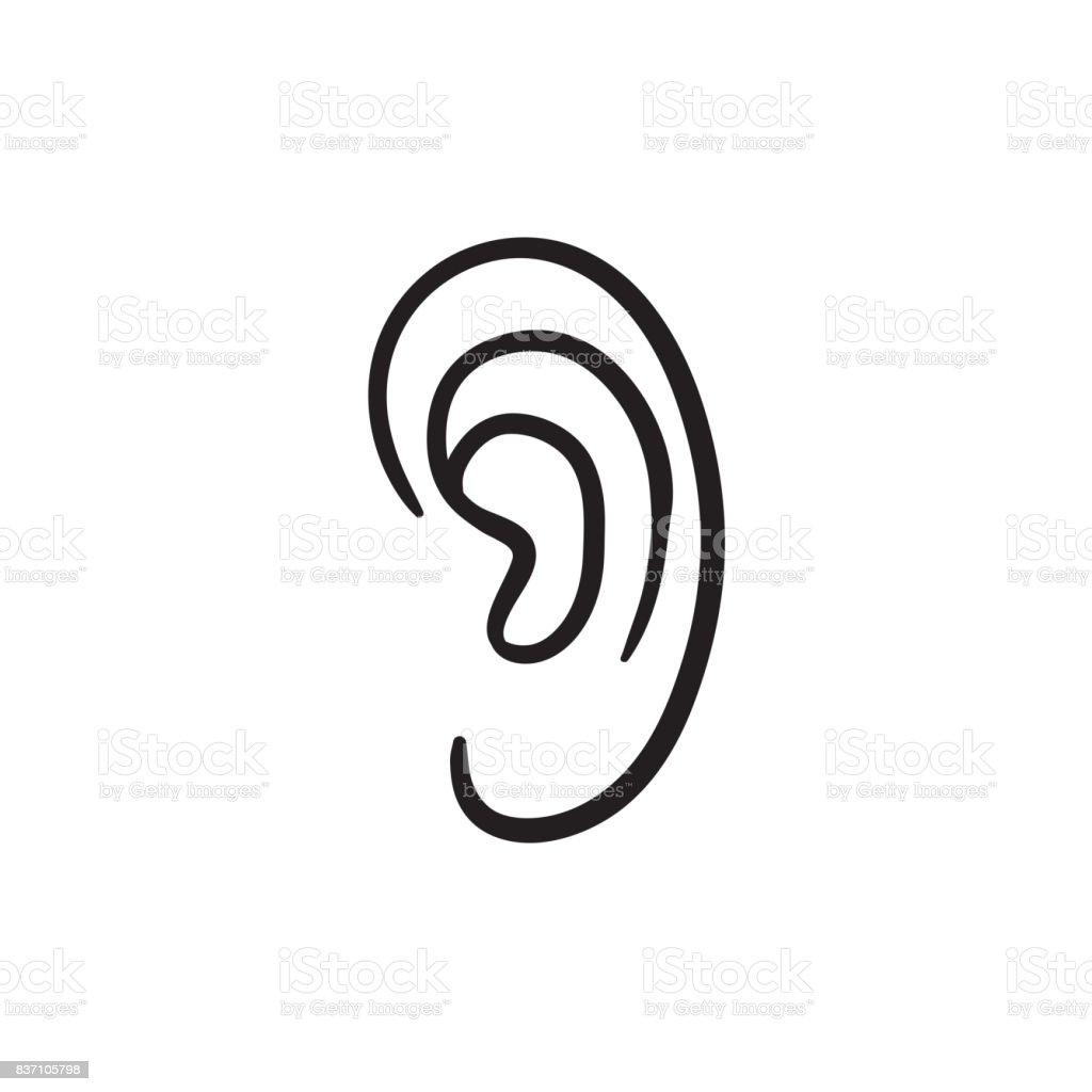 Menschliches Ohr Skizzesymbol Vektor Illustration 837105798 | iStock