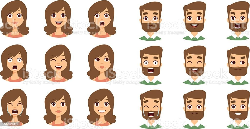 Human emotion face vector set vector art illustration