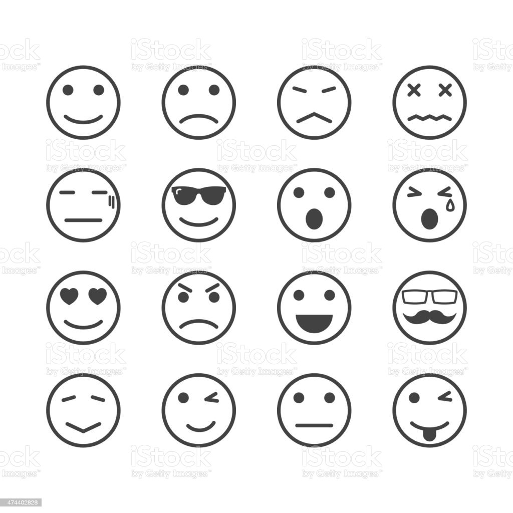 human emotion icons vector art illustration