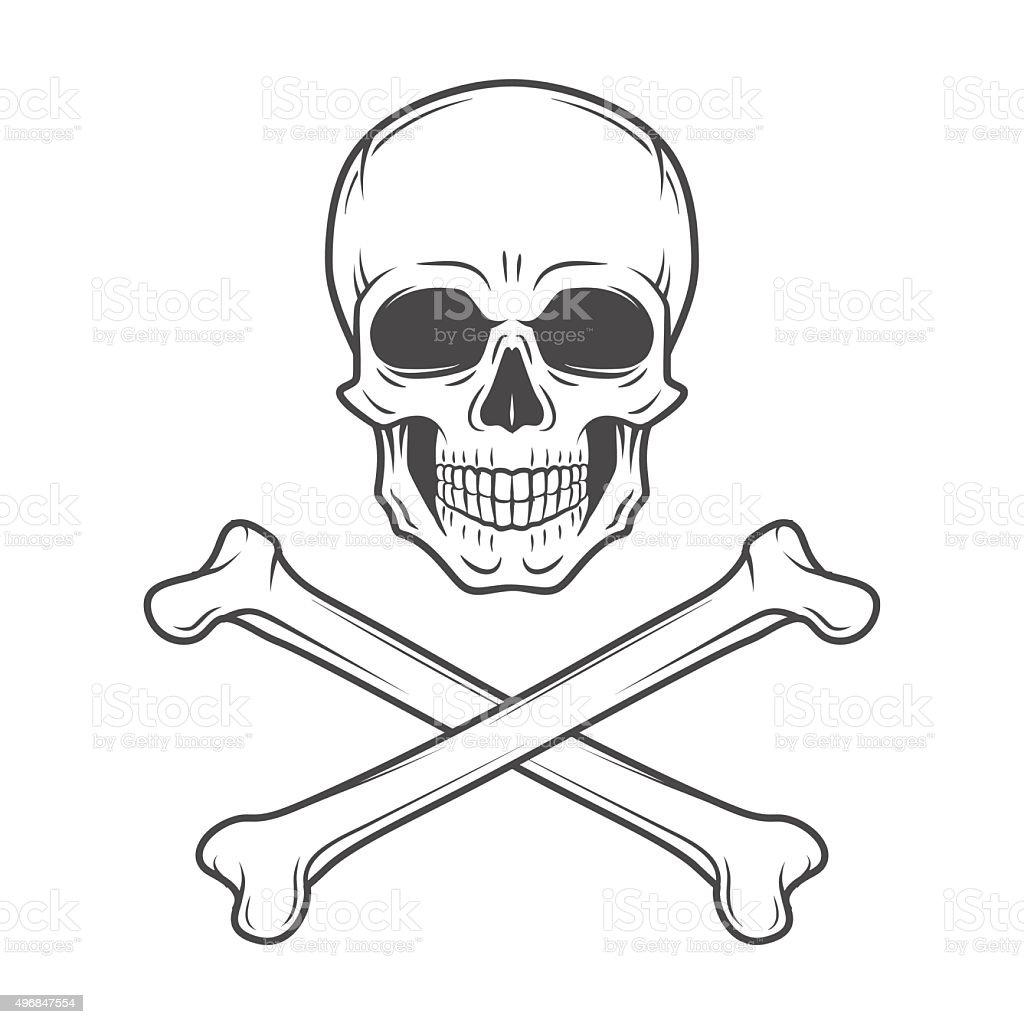 Human evil skull vector. Pirate insignia concept. Poison icon illustration vector art illustration