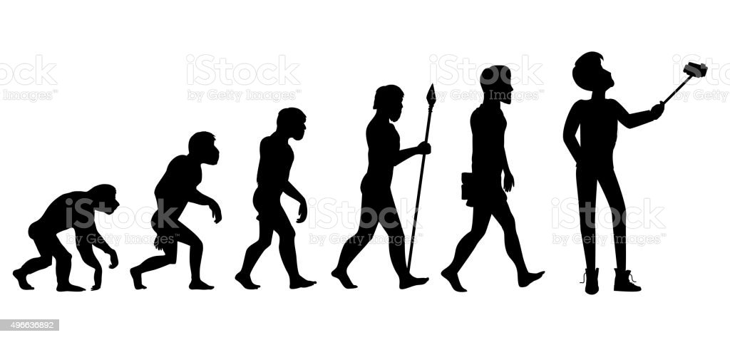 Human Evolution from Ape to Man vector art illustration