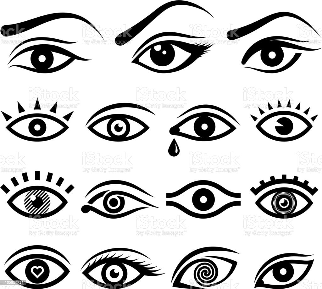 Human eye black & white icon set vector art illustration