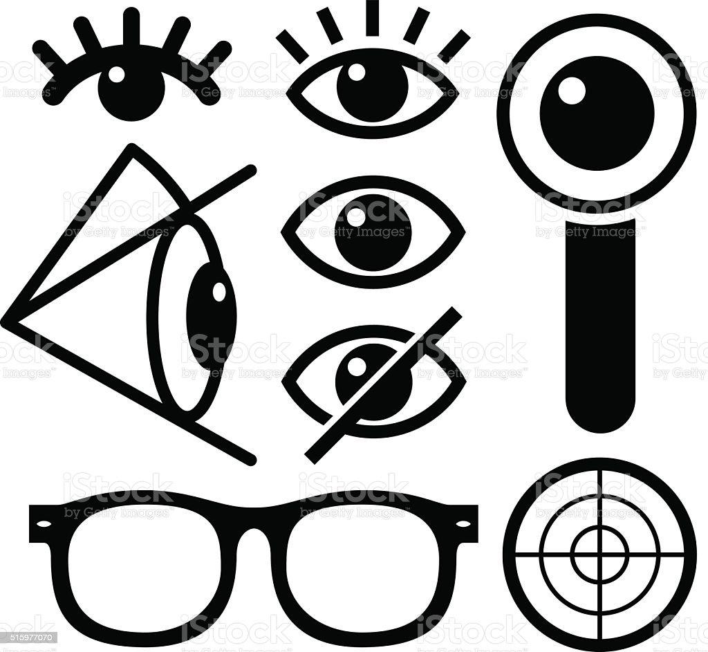 Human eye icons black vector art illustration