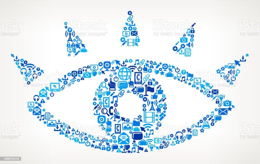 Human Eye on vector technology pattern Background vector art illustration