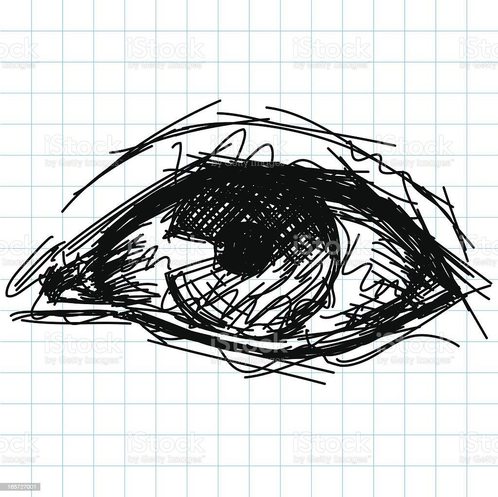 human eye sketch vector art illustration