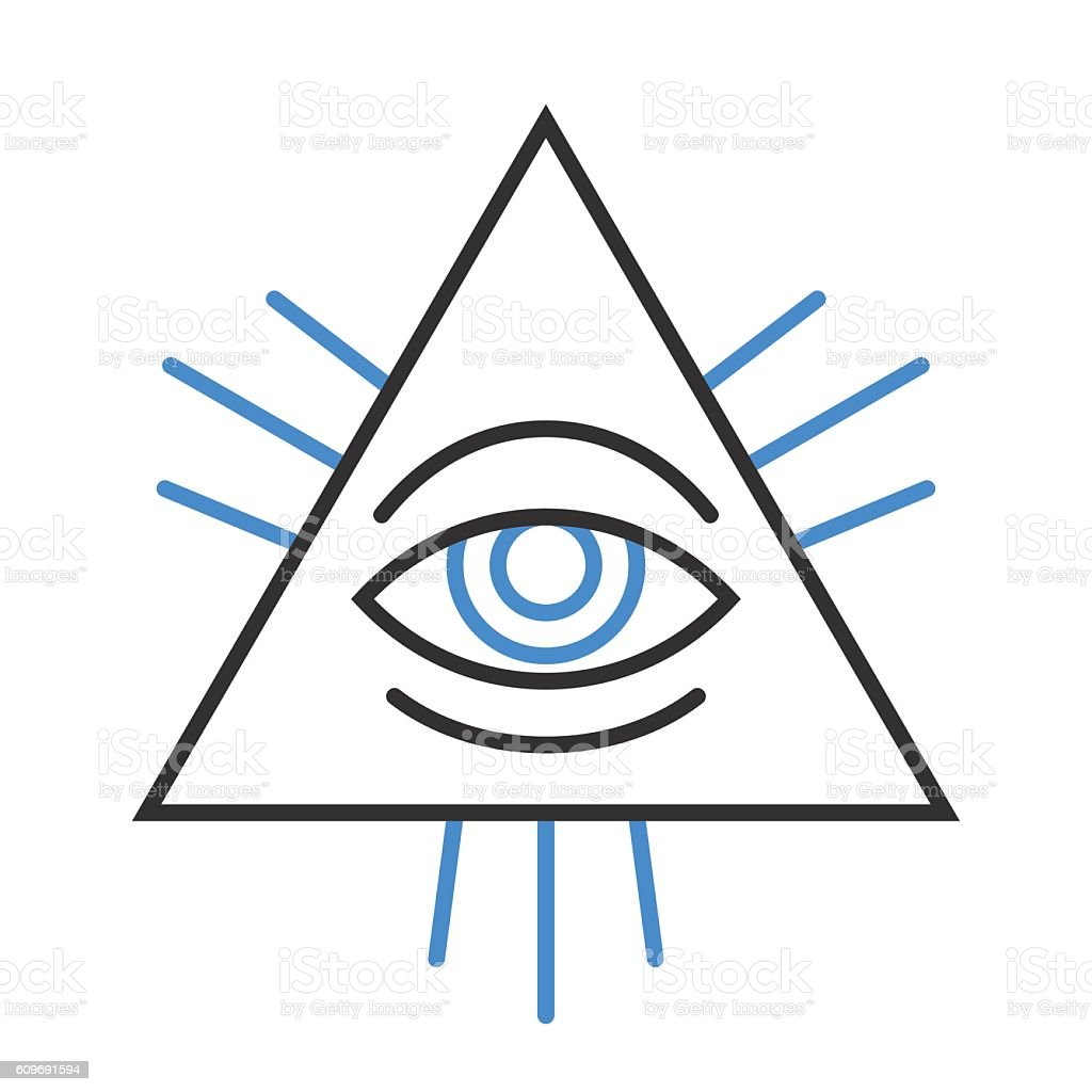 Human eye symbol inside a pyramid vector art illustration