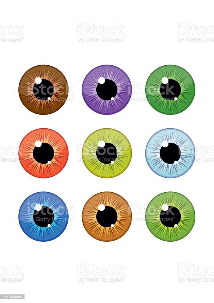 Human eyeballs iris pupils set isolated on white background. Colorful eyes vector art illustration