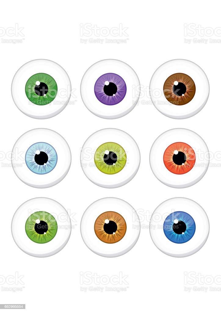 Human eyes set isolated on white background. Colorful eyeballs iris pupils vector art illustration