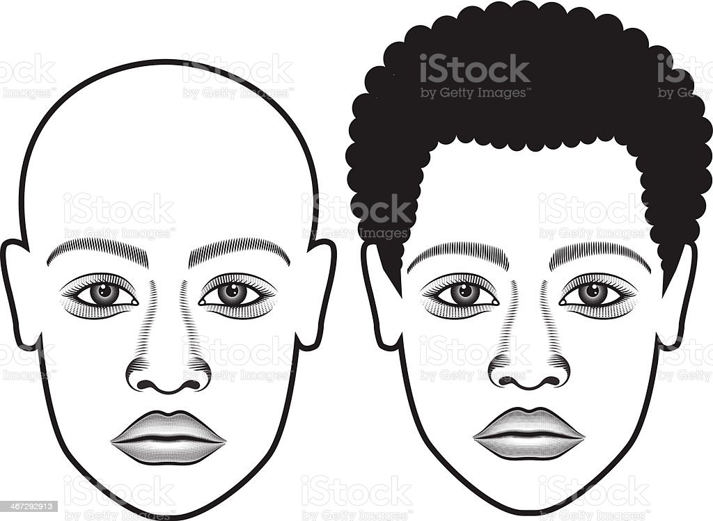 Human Face Bold & Hair vector art illustration