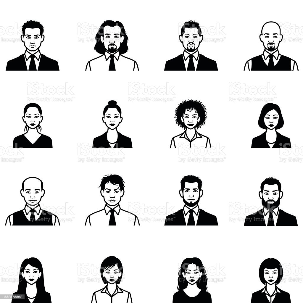 Human Face Icons vector art illustration