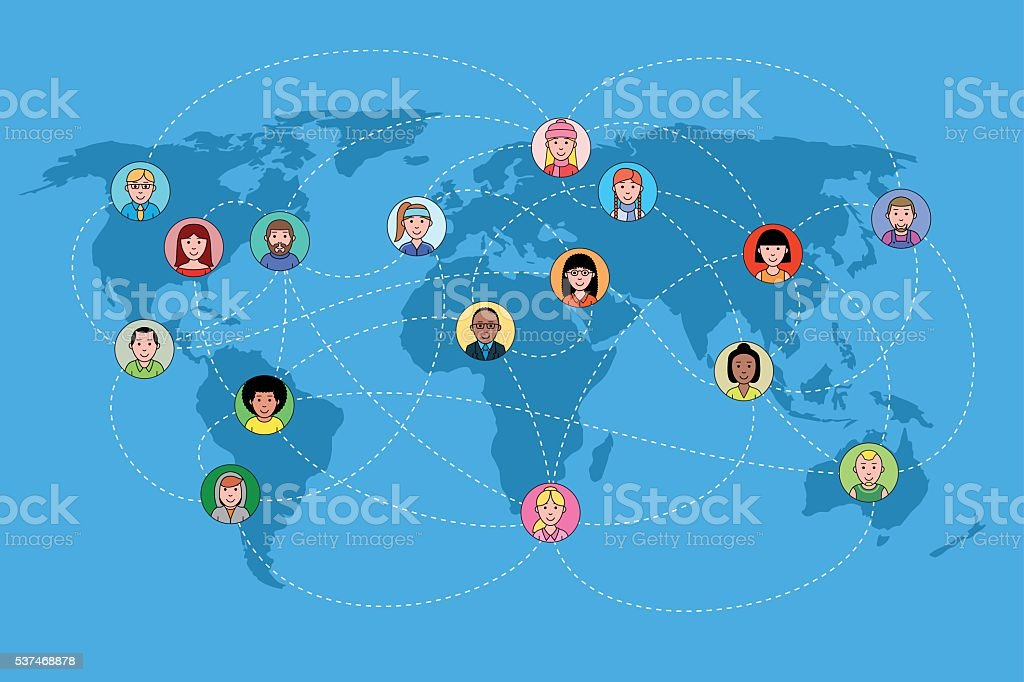 Human faces on a world map network. Social media concept. vector art illustration