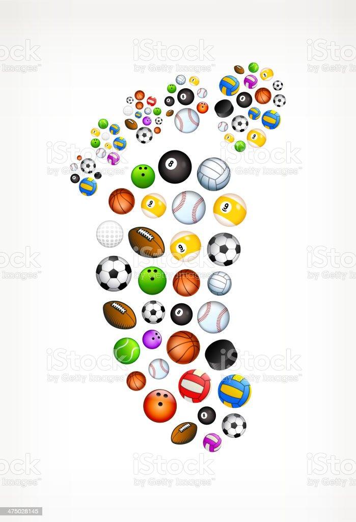 Human Foot Print on Sport Balls vector art illustration