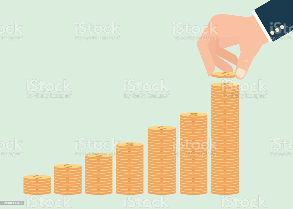Human hand adding golden coin . vector art illustration