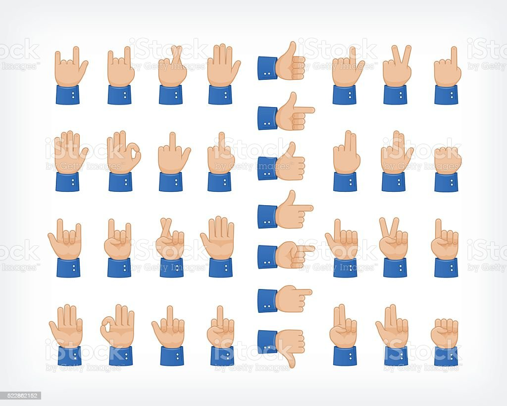 Human hand collection, different hands, gestures, signals and signs. vector art illustration