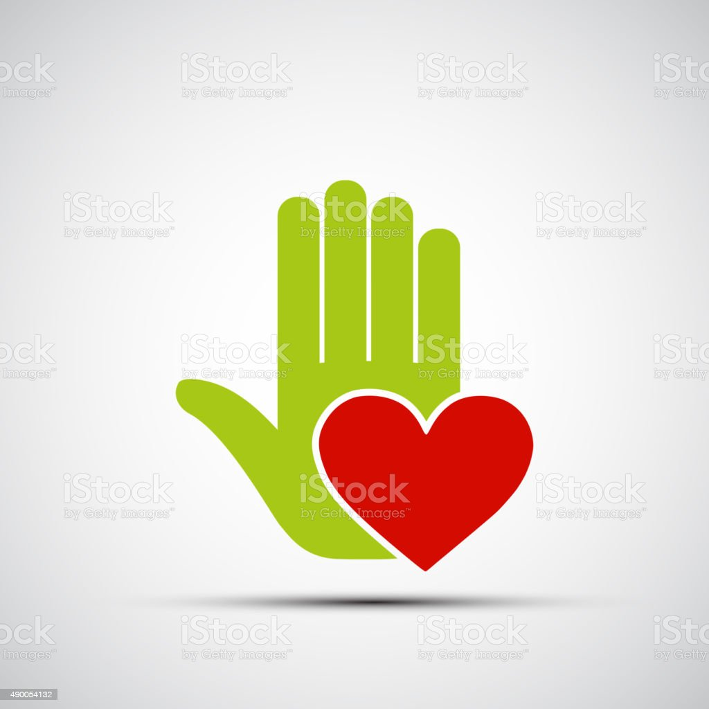 human hand holding a red heart. vector art illustration